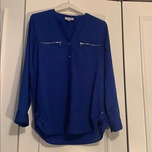 Calvin Klein Royal Blue Blouse with Silver Zippers